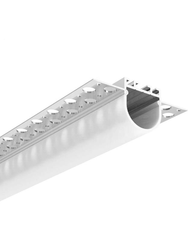 Trimless LED Strip Light Extrusion With Round Cover For Drywall