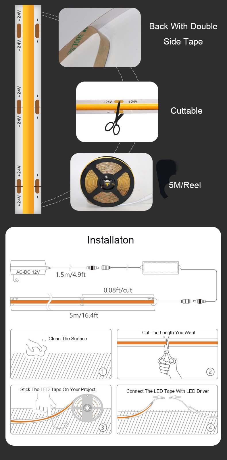 COB LED Strips Installation